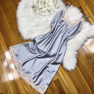 🌹Vtg Christian Dior Silky Blue Slip Dress S/M🌹